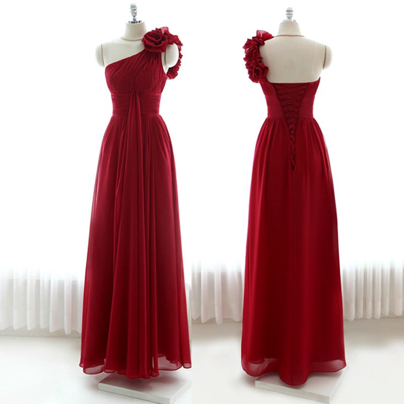 55014368fa7 Elegant One Shoulder Burgundy Floor Length Chiffon Bridesmaid Dresses