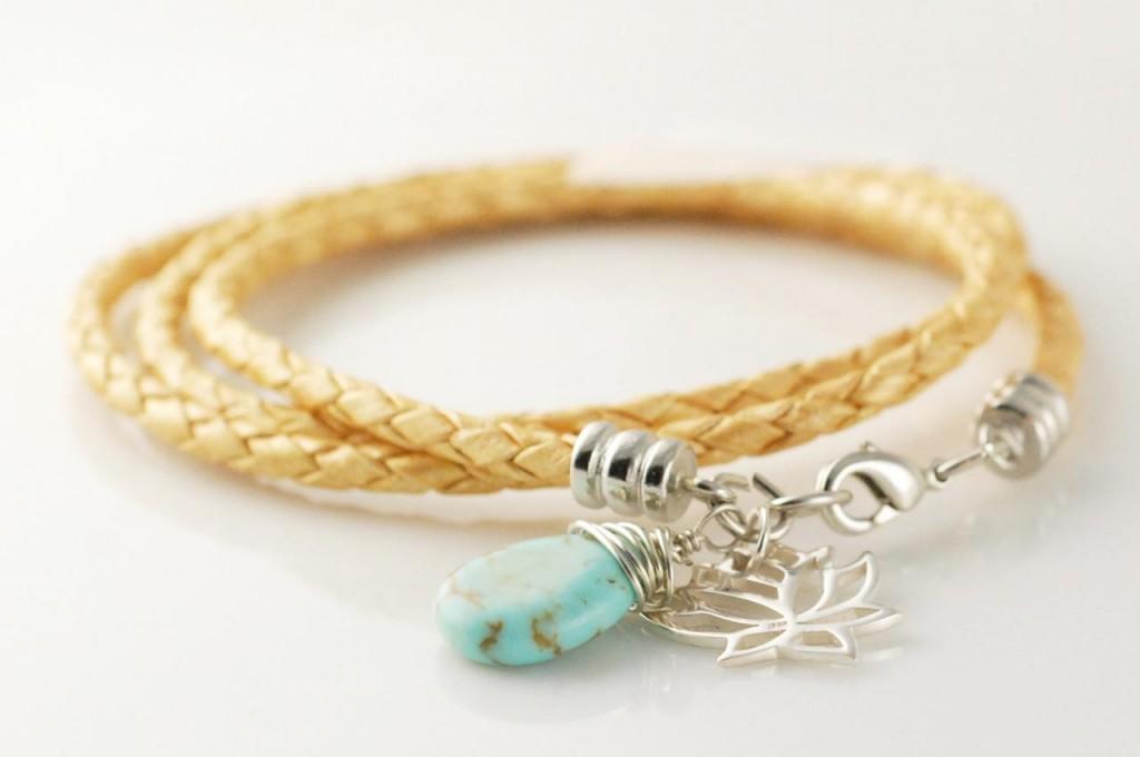 Braided leather cord wrap bracelet