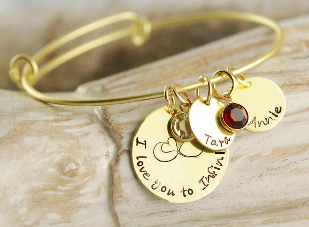 Personalized bangle charm bracelet
