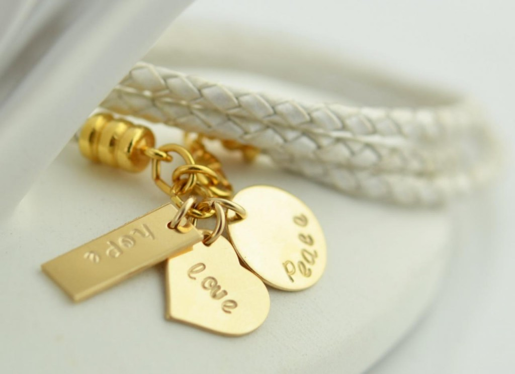 White leather cord wrap bracelet