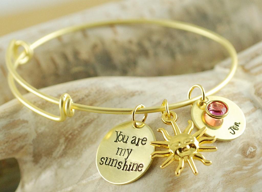 You are my sunshine bangle charm bracelet