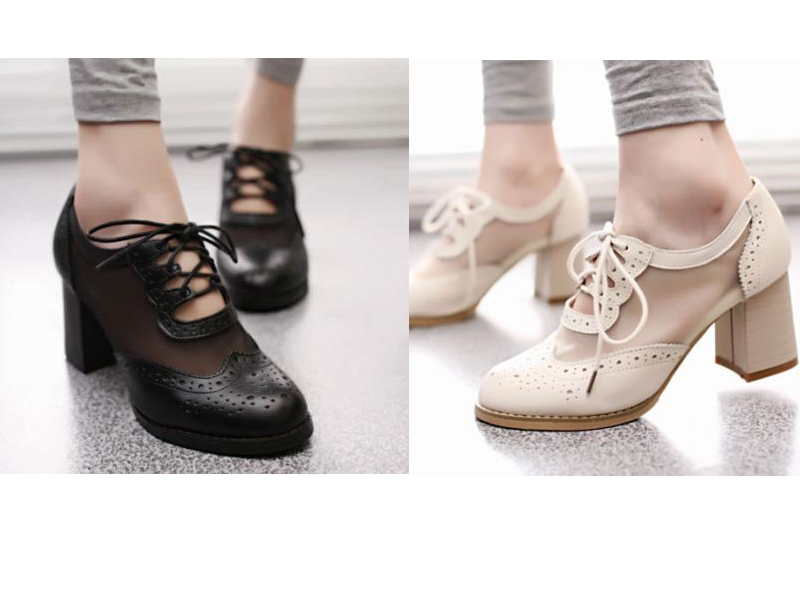 Cut Out Mesh Oxford Shoe