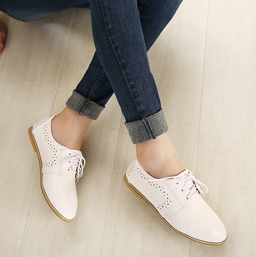 White Lace Up Oxford Shoes