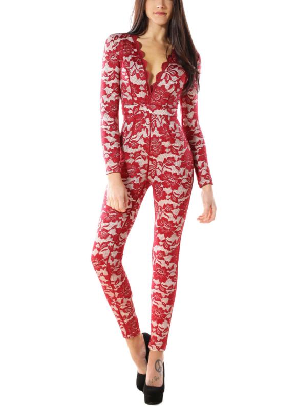Red Lace Jumpsuit