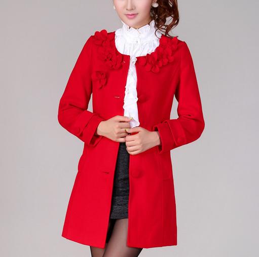 Red Flowers Wool Coat