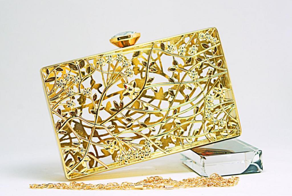 Gold Metallic Evening Clutch