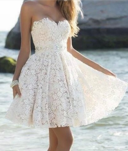 White Lace Sweetheart Dress