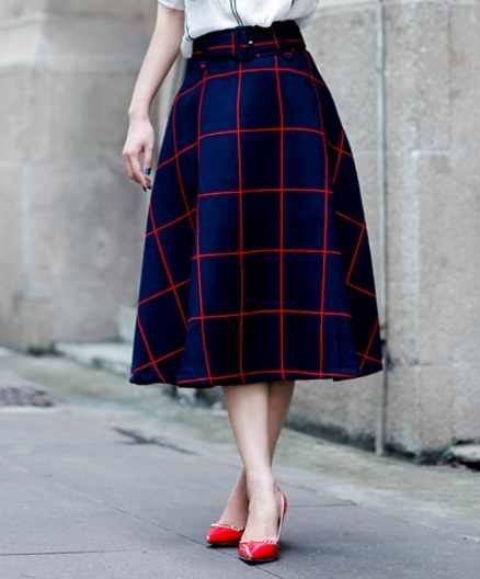 Plaid High Waist Midi Skirt