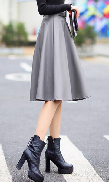High Waist Grey Leather Skirt