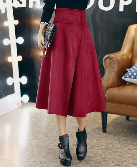 High Waist Red Wine Suede Midi Skirt