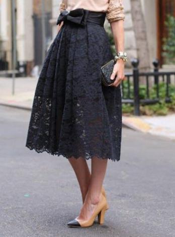 Lacey Bowknot Midi Skirt