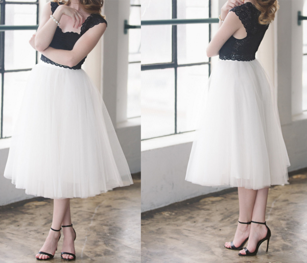 Ivory Satin Tulle Skirt