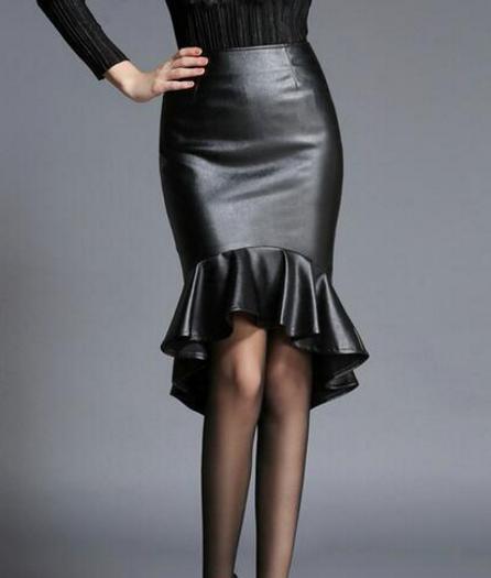 Black Leather Fishtail Skirt