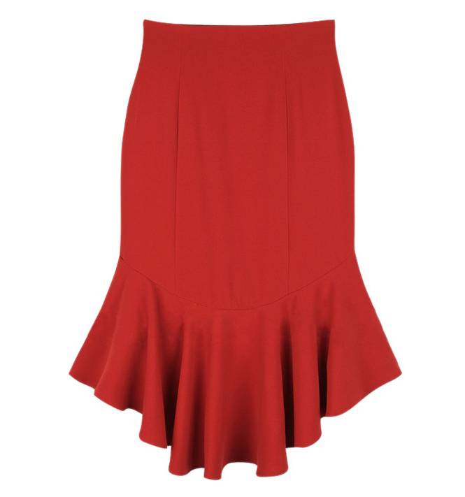 Slim Pleated Fishtail Skirt