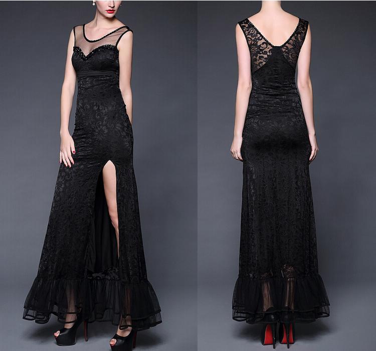 Black Lace Fishtail Dress