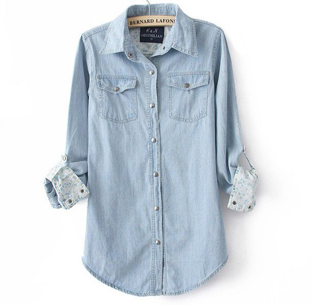 e1ebbadf Fashion Light Blue Denim Shirt For Women on Luulla