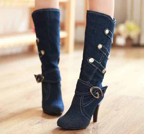 Denim High Heels Boots