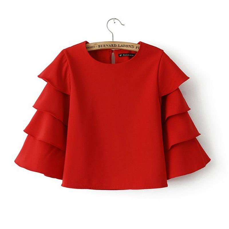 Petal Horn Red Sleeve Shirt