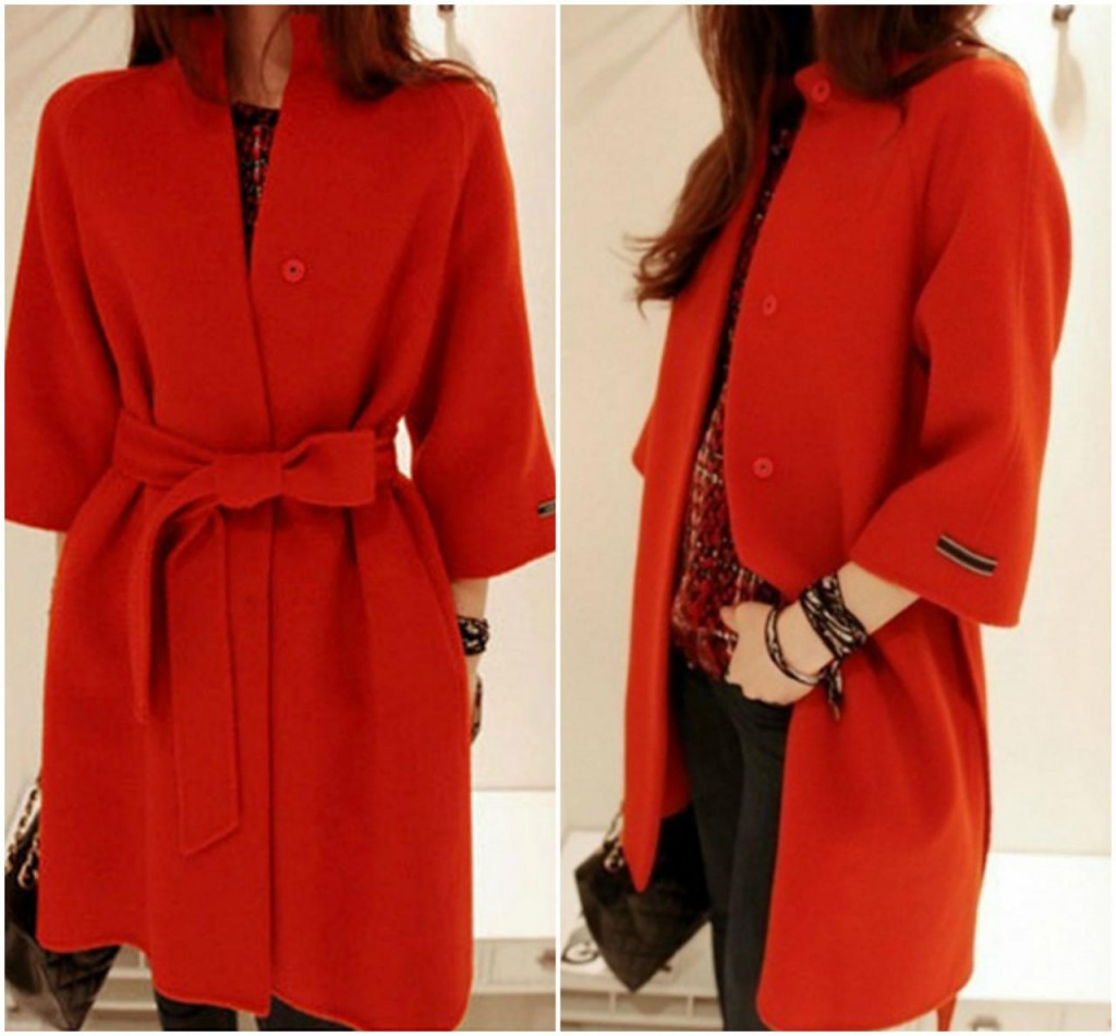 Deep Red Coat with Belt