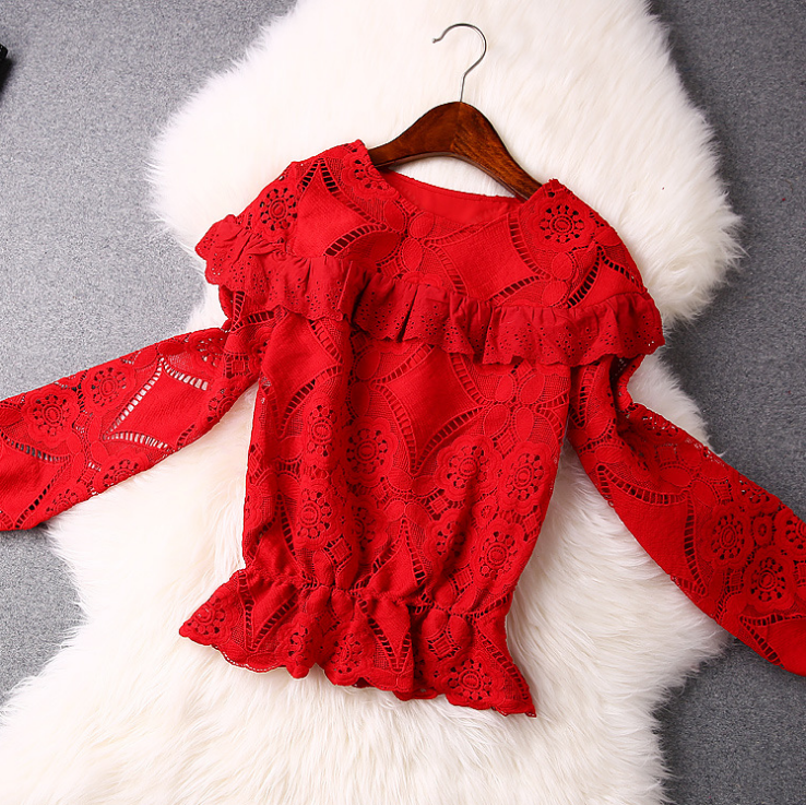 Hollow Lace Red Blouse