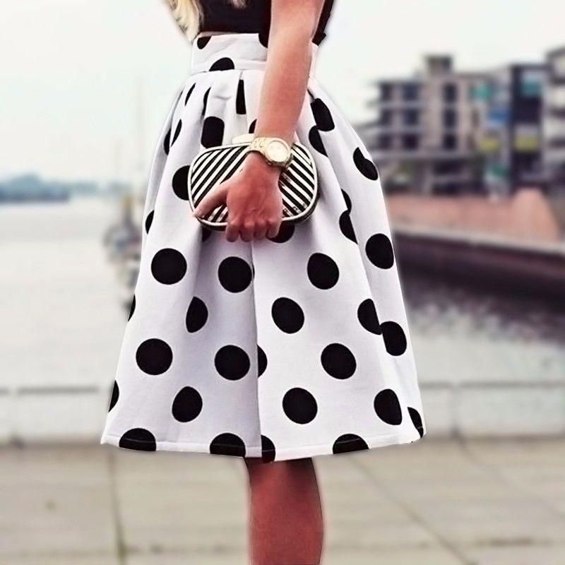 Polka Dots Midi Skirts