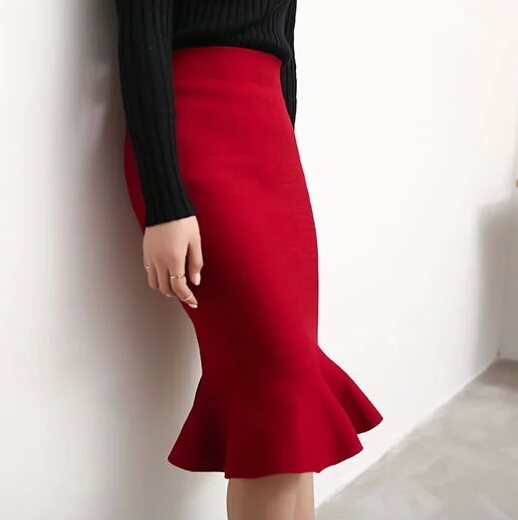 High Waist Fishtail Skirt