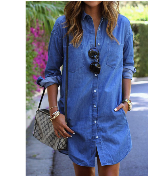 Button Front Denim Shirt Dress