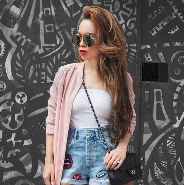 Emma Shazleen Ali from Malaysia The way she pairs her embellished denim shorts with a basic white T and a pastel pink jacket is very stunning!