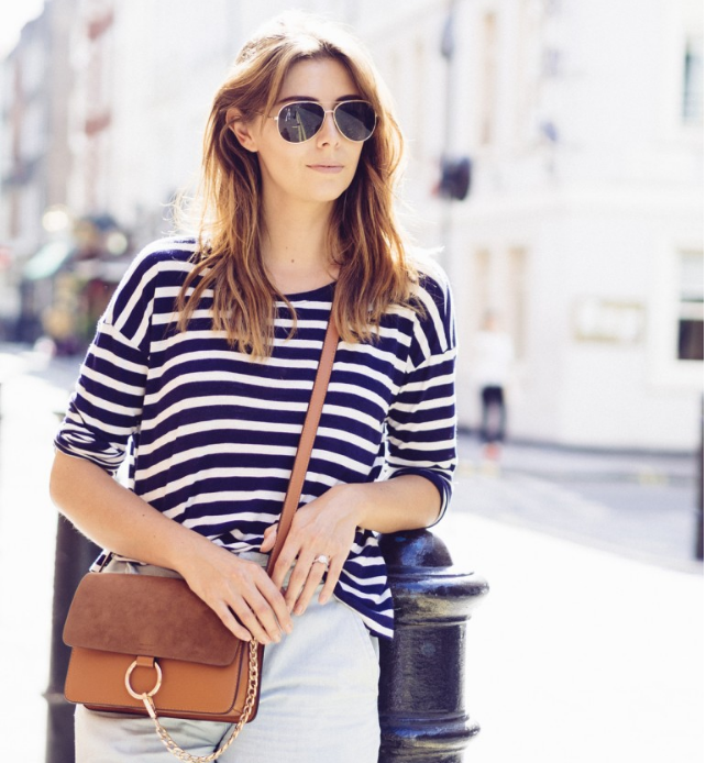 Emma Hill  Such a perfect look for Summer. A stripe Tee and a pair of culottes! Don't forget about your sunnies!