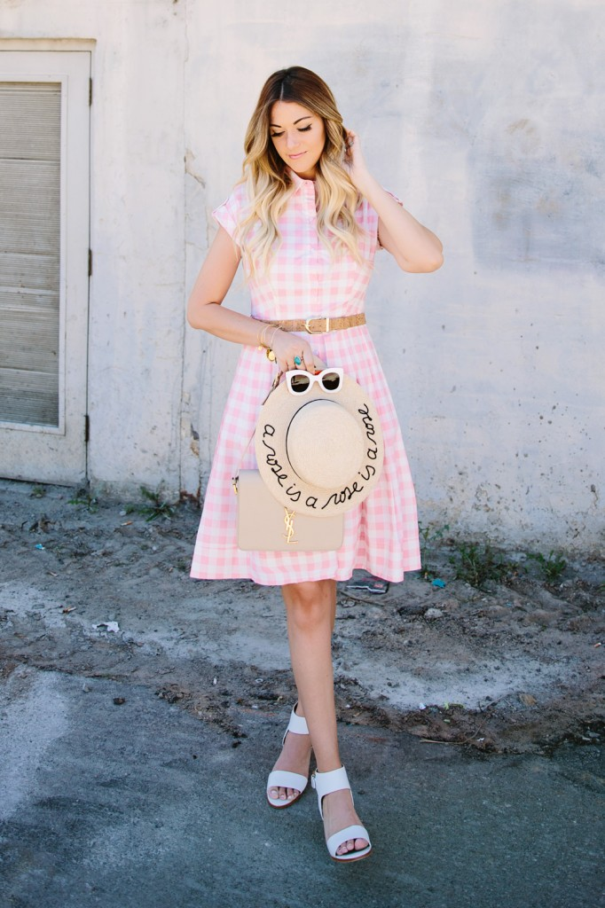 Pink-Gingham-Checkered-Eliza-J-Dress-Nordstrom-Caitlin-Lindquist-Spring-Summer-Feminine-Outfit