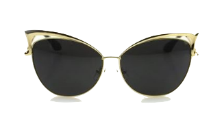 Black Cat-Eye Shades With Gold and Cutout Details