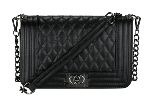 Black Leather Crossbody With Quilted Texture And Chain Straps