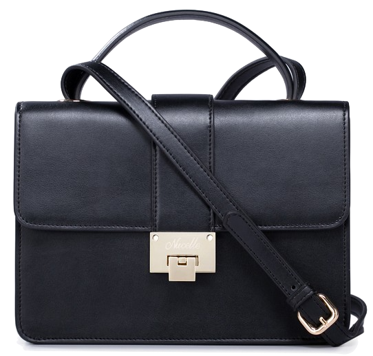 Black Leather Messenger Shoulder Bag With Metal Buckle Closure