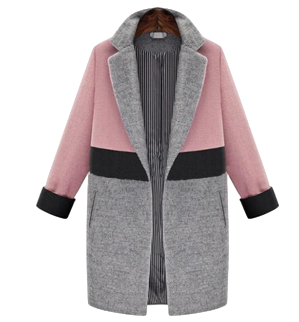 Color Block  Woolen Lapel Coat