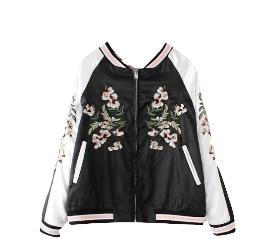 Convertible Baseball Jacket with Floral Embroidery