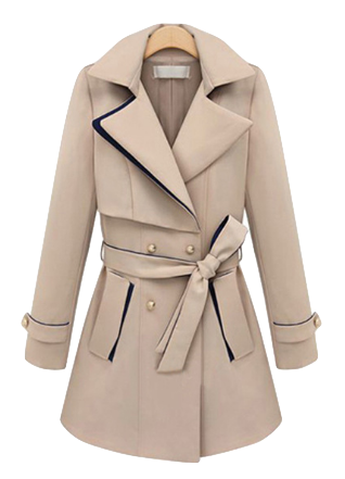 Elegant Lapel Double-Breasted Trench Coat