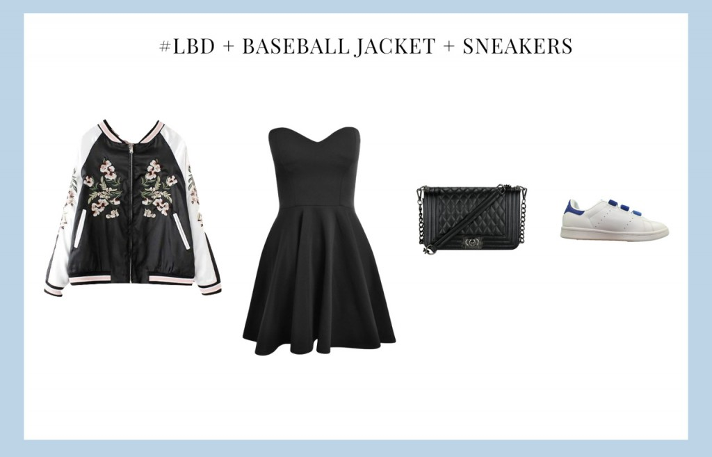 Little Black Dress With Baseball Jacket and Sneakers