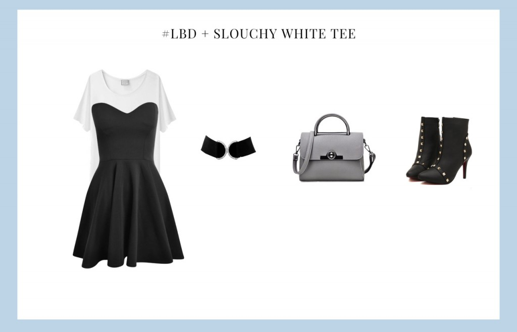 Little Black Dress with slouchy white tee