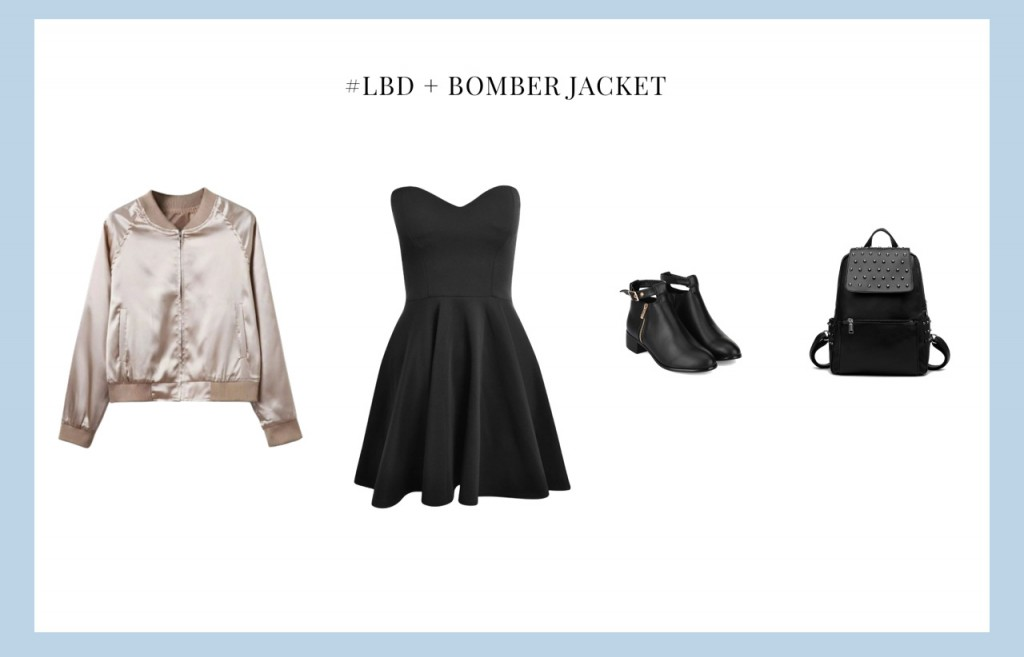 Little black dress with bomber jacket