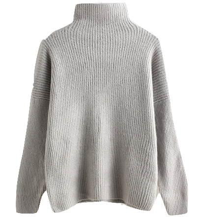 Minimal High Collar Knit Sweater
