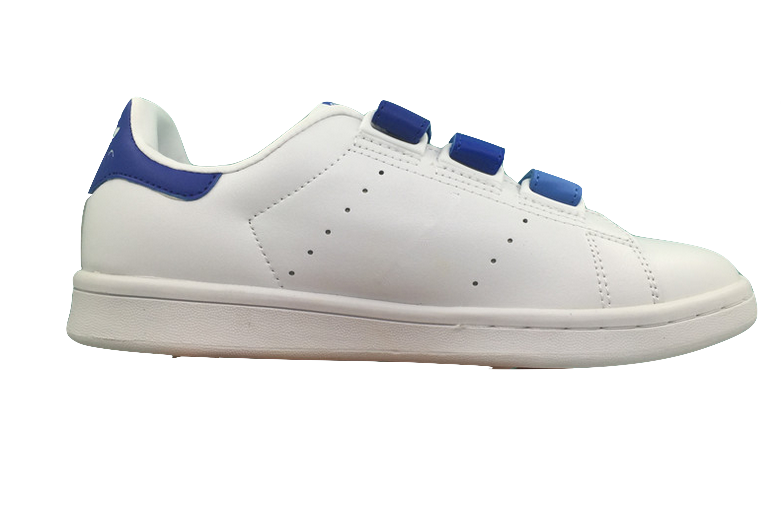 Minimal White Trainers With Blue Velcro Straps Closure