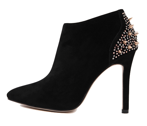 Ornate Black High Heel Ankle Boots With Studded and Rivet Details