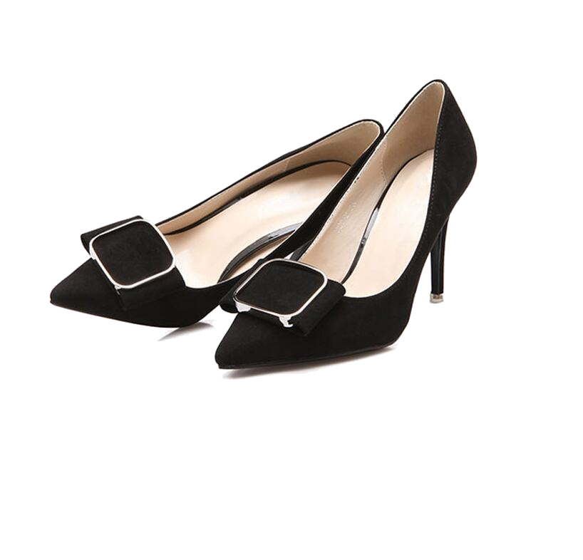 Suede Pointed Pumps With Metallic Bow Details