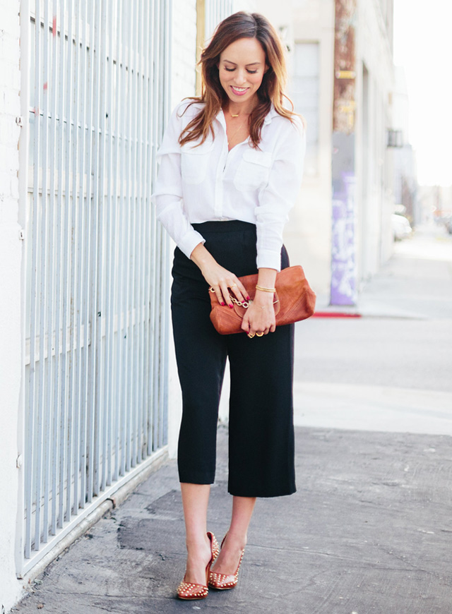 Sydne-Style-how-to-wear-a-white-button-down-shirt-culotte-pants