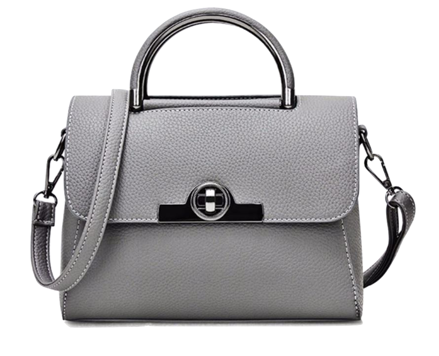 grey leather mini handbag with metal details and detachable shoulder strap