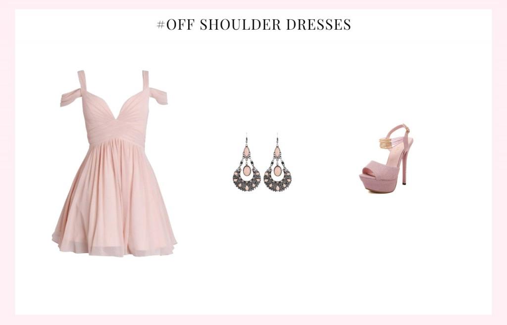 off shoulder homecoming dress