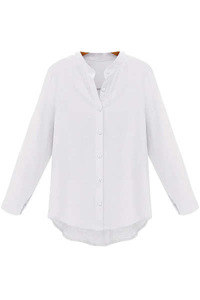 white collarless button down shirt