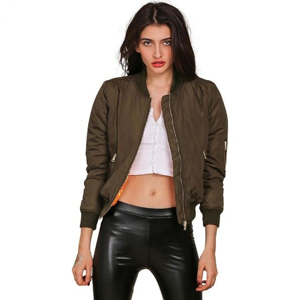 army-green-long-sleeve-padded-women-jackets