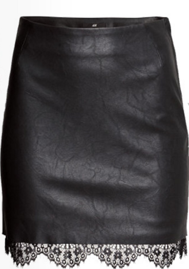 black-faux-leather-pencil-skirt-with-lace-hem