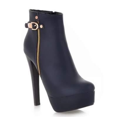 Black High Heel Boots With Side Zipper and Buckle
